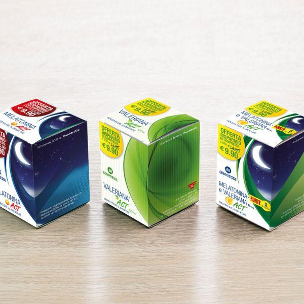 Packaging integratore alimentari Melatonina e Valeriana Act